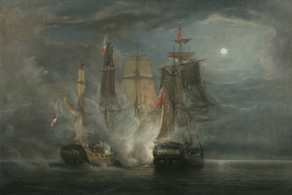 John_Christian_Schetky,_HMS_Amelia_and_the_French_Frigate_Aréthuse_in_Action_1813_(1852)