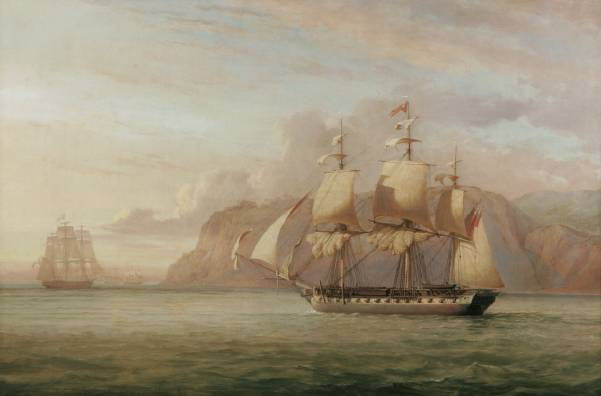 John_Christian_Schetky,_HMS_Amelia_Chasing_the_French_Frigate_Aréthuse_1813_(1852)