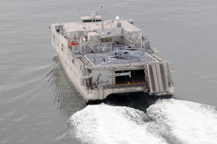 MSNS Spearhead conducts high-speed trials in Atlantic Ocean.