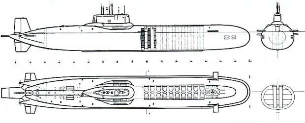 (Vista general alzado / planta / perfil  con los silos lanzamisiles enfrente a la vela)