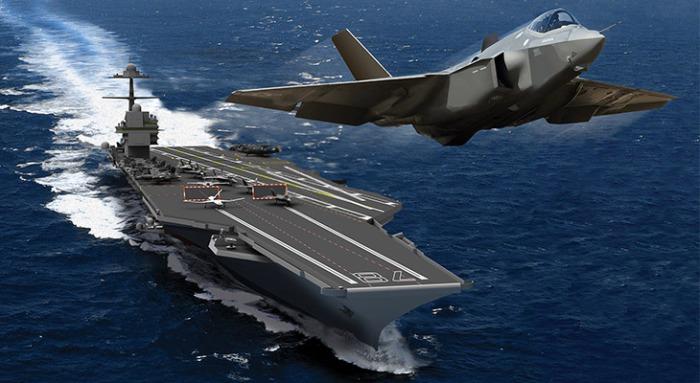 Avión despegando bajo el sistema EMALS