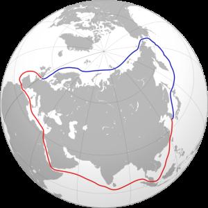 Ruta marítima del Norte (azul) y ruta alternativa a través del canal de Suez (rojo).