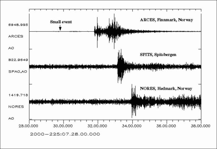 Imagen registro explosion en el sismografo