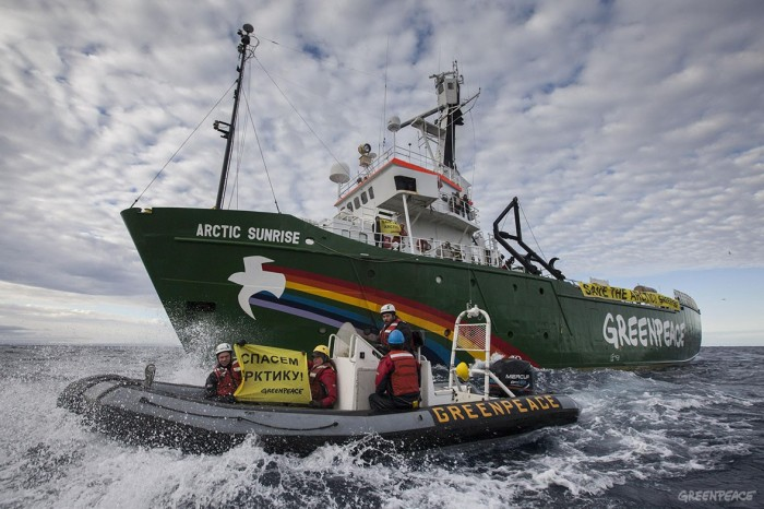 The Greenpeace ship Arctic Sunrise enters the Northern Sea Route (NSR) off Russia's coastline to protest against Arctic oil drilling, in defiance of Russian authorities who this week refused the ship permission to enter the area.