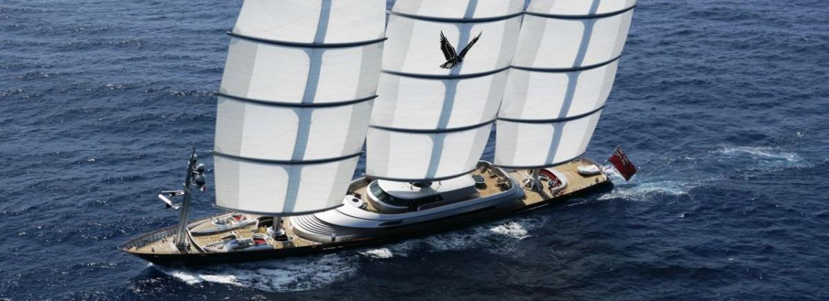 El velero Maltese Falcon y el sistema Dynarig.