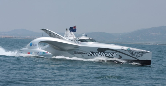 Earthrace at the finish line 2008
