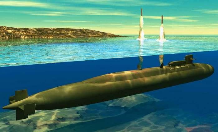 Infografia submarino disparando misiles