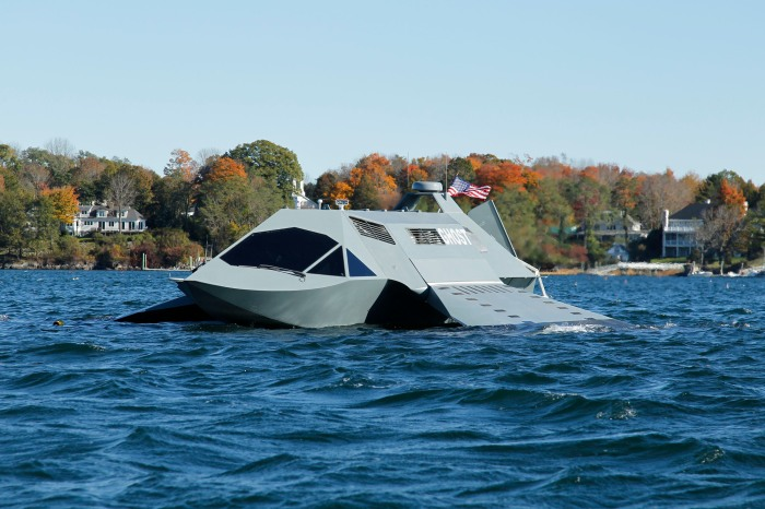The revolutionary new surface/sub-surface platform GHOST during recent sea trials. (PRNewsFoto/Juliet Marine Systems, Inc., Michael Eudenbach)