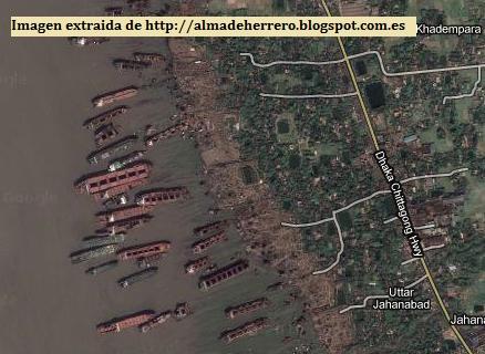 Imagen aerea buques en Chittagong