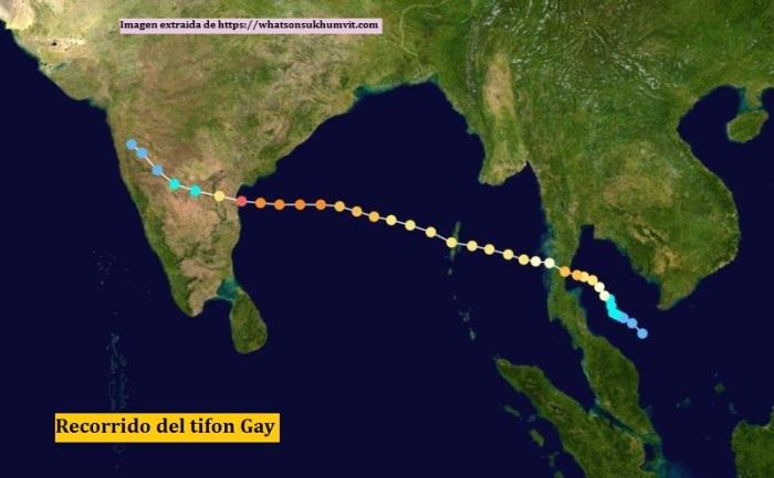 Recorrido del tifon Gay